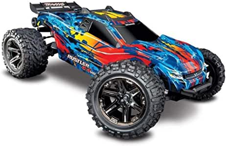 Traxxas 67076-4 Rustler 4x4 VXL Off Road Electric Remote Control RC Car with Remote Control for Adults and Kids, Red