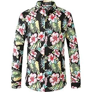 SSLR Men's Paisley Cotton Printed Long Sleeve Casual Button Down Shirt