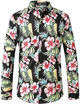 SSLR Men's Paisley Cotton Printed Long Sleeve Casual Button Down Shirt (Small, Black)