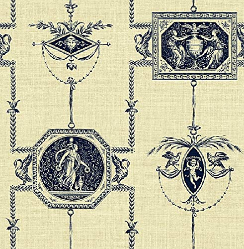 Wallpaper Designer Navy Blue French Toile on Cream Faux Birds Cherubs Angels (Cherub Wallpaper)