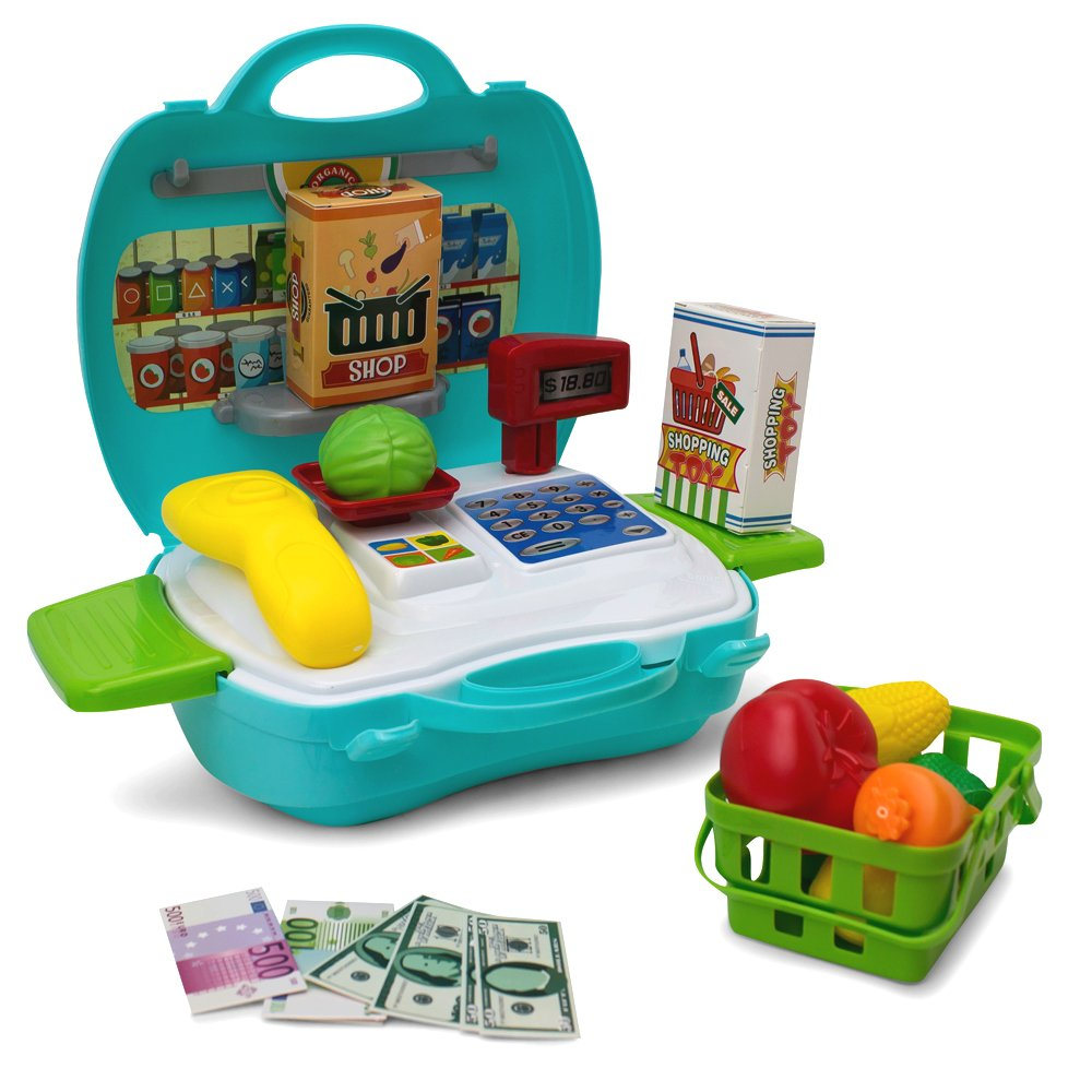 Kids Grocery Cash Register Case Set - 23 Pieces - Scanner, Fruits , Food ... - Educational Learning Toy