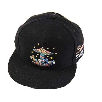 XINXI Home Hombre Hembra Bordado Plano de Dibujos Animados carrusel de Lana Gorra de Skate Gorra de béisbol Cap Cap (Color : Black, Size : One Size): ...