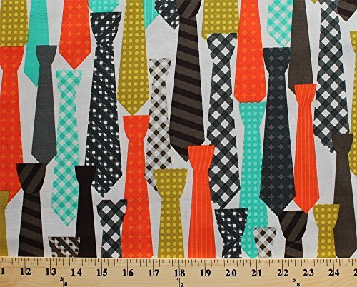 Cotton Ties Necktie Clothing Men's Fashion Apparel Shopping Aqua Orange Brown Yellow Cream Cotton Fabric Print by the Yard (cx6007-strf-d)