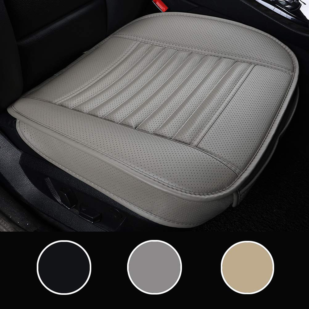 20.1 Inches LUOLLOVE Leather Car Seat Covers Universal Front Car Seat Protectors,Bamboo Charcoal Breathable All-inclusive Without Backrest,20.8 2-Packs,Beige
