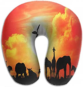 Emvency U-Shaped Travel Neck Support Pillow Safari Africa Silhouette Wild Animals Airplane 12x11.5 Inch Soft U-Pillows with Rebound Material for Kids Adults
