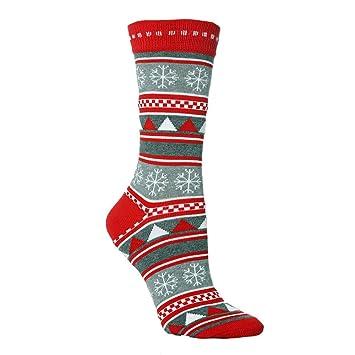 Bibao Calcetines térmicos de algodón para Hombre con diseño de Rayas y Alce de Papá Noel