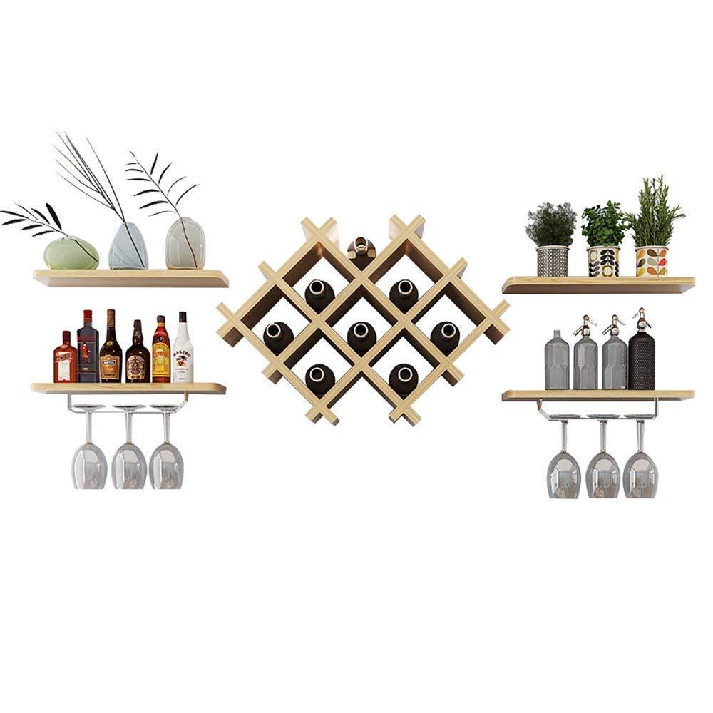 DEED Étagère à vin-européenne casiers à vin créatifs Support Mural de Bouteille unité de Rangement en Verre Champagne 4 étagères flottantes Accessoires de Bar étagères Salon &agra