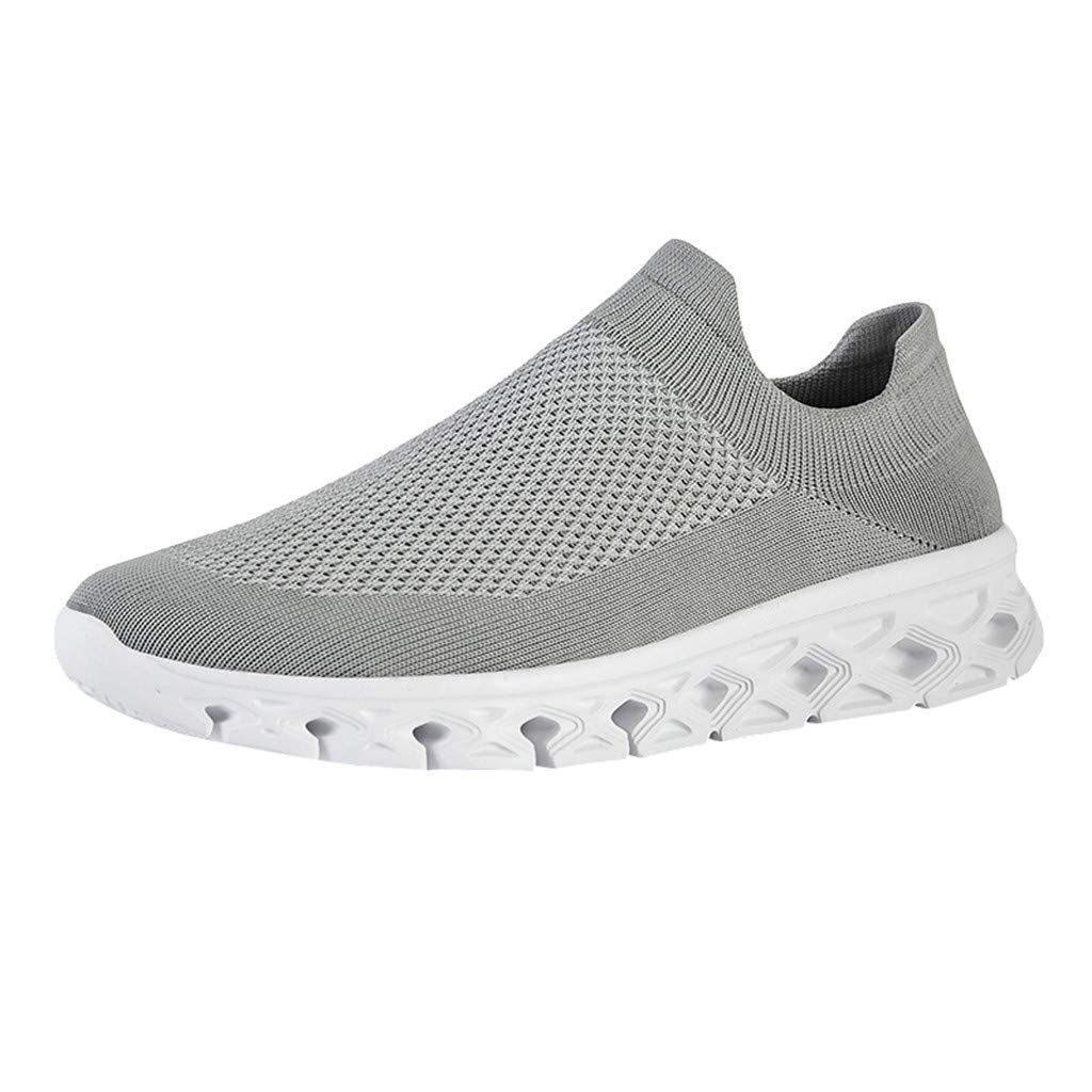YKARITIANNA Men Solid Color Breathable Woven Lightweight Sneakers Low-Top Casual Socks Shoes Gray