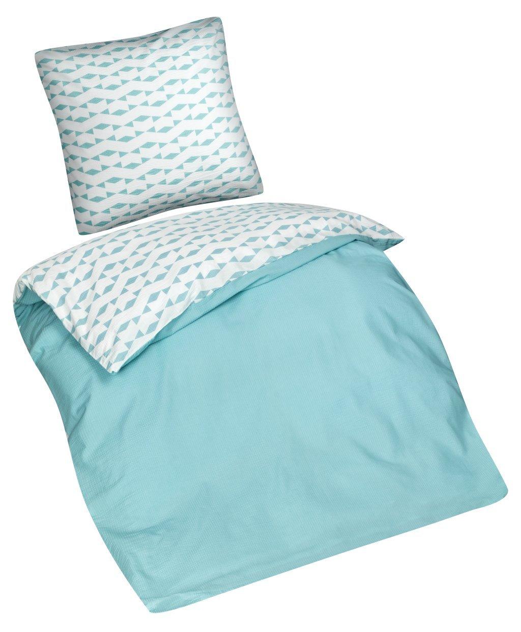 Aminata - Ropa de cama 135 x 200 cm color azul verde Seersucker ...