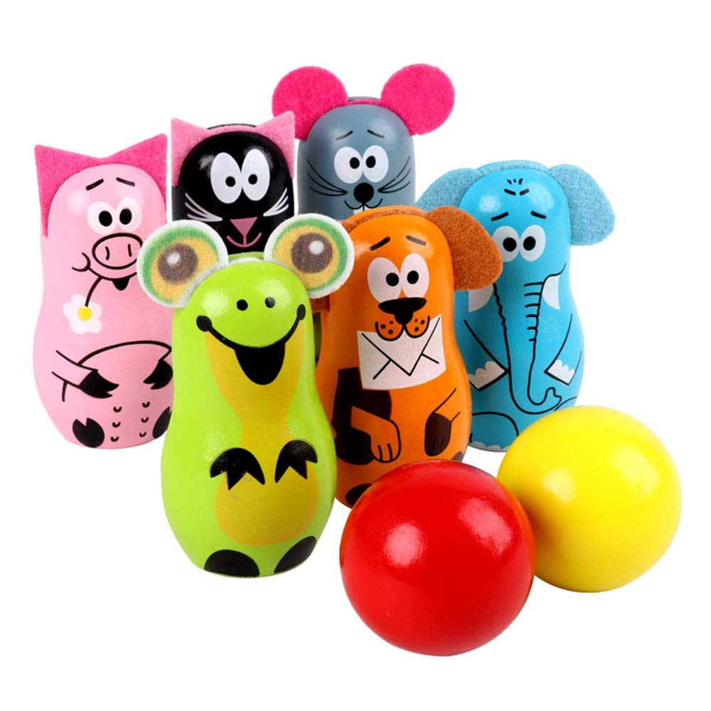 KMCMYBANG Bowling Toy Cute Indoor Outdoor Kids Wooden Bowling Friends Play Set Animal Bowling Game Set for Children with 6 Wooden Pins and 2 Balls Children's Bowling Toys Kids Bowling Toys by KMCMYBANG