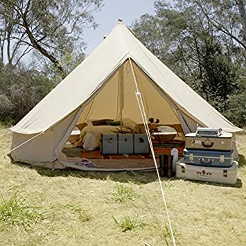 Psyclone Tents Fixed Floor 10 Windows 5m 16.4ft Luxury Outdoor All Weather 8-10 Person Cotton Canvas Yurt Large Bell Tent for Family Camping Glamping Hiking and Festivals
