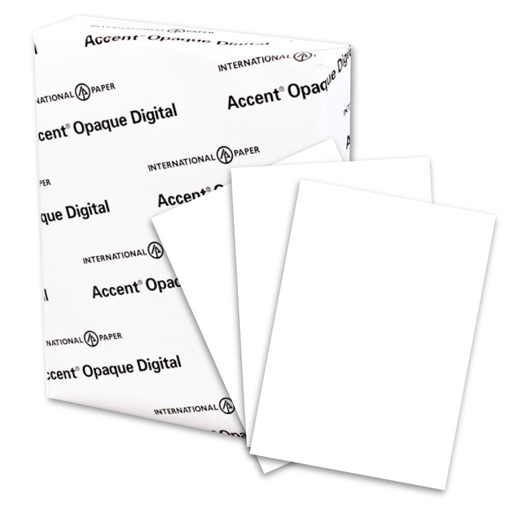 Accent Opaque, Super Smooth Cover White, 80lb, Letter, 8.5 x 11, 97 Bright, 250 Sheets/1 Ream, Made in The USA