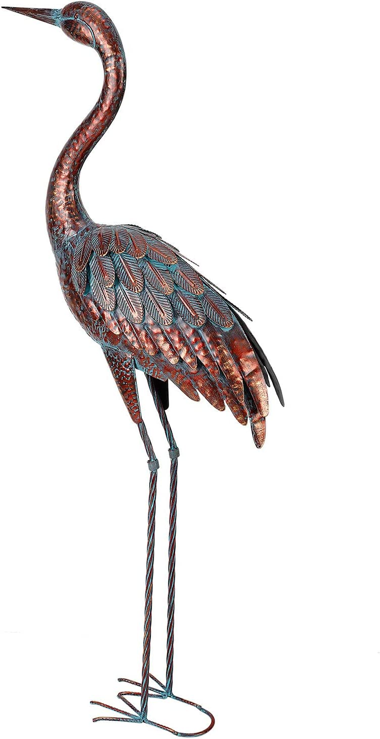 chisheen Garden Heron Sculptures Yard Decor Metal Crane Outdoor