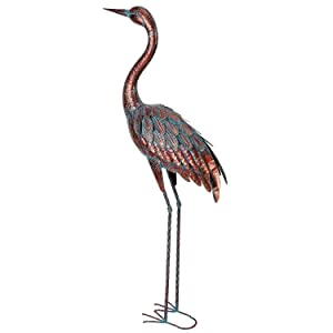 Chisheen Outdoor Crane Statues and Sculptures Metal Standing Art Peice for Garden Yard Large Size