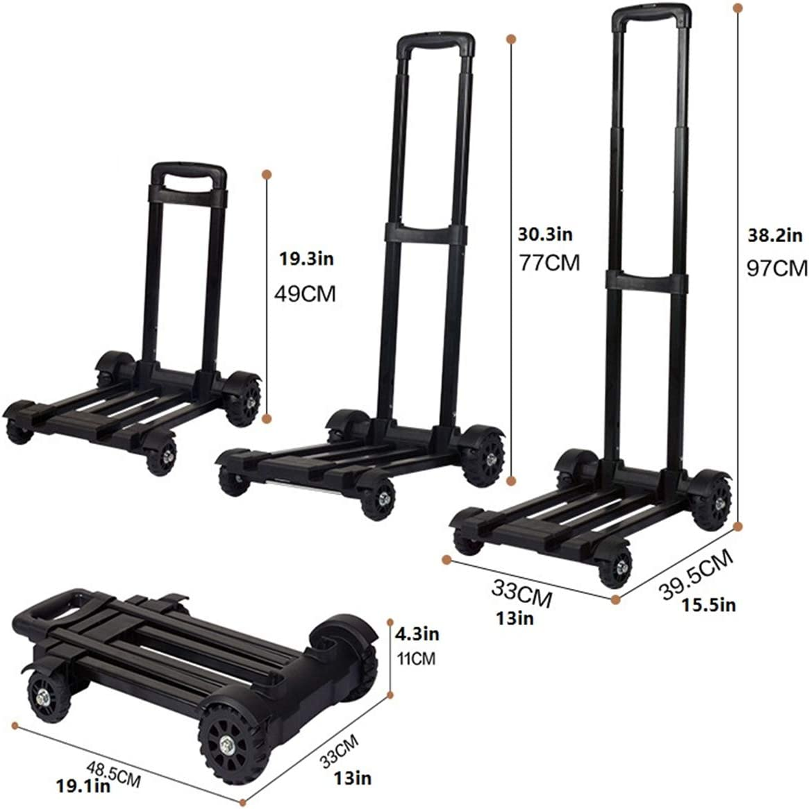 Travel and Moving Portable Fold Up Dolly Personal CYQAQ Folding Hand Truck,60 Kg//132 lbs 4-Wheel Solid Construction Utility Cart for Luggage