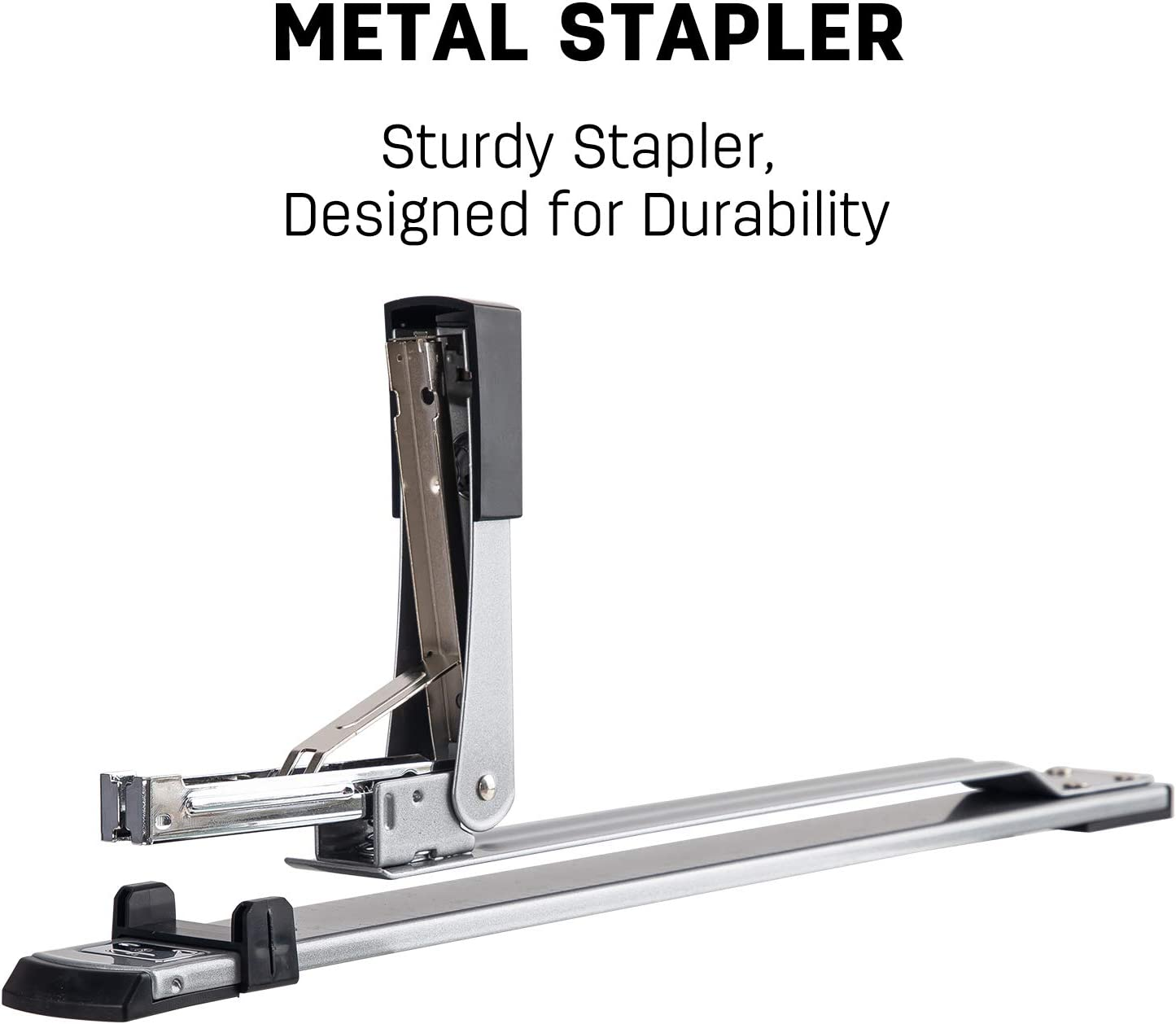Deli Long Reach Stapler, 25 Sheet Capacity, Long Arm Standard Staplers for Booklet or Book Binding, Silver : Office Products