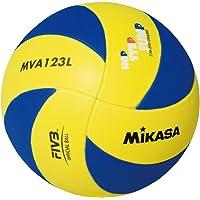 Mikasa Mva123L Sentetik Deri Voleybol Topu, Unisex, Sarı / Mavi, 5