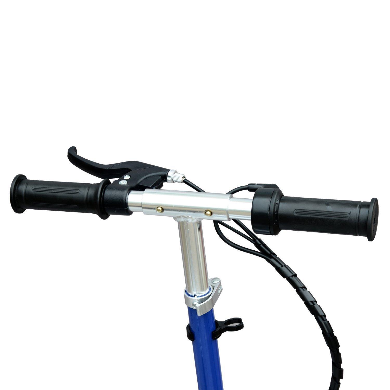Comprar HOMCOM Patinete Eléctrico Niño Scooter Plegable con Manillar y Asiento Ajustable tipo Monopatín con Freno y Caballete 120W Carga 50kg 81.5x37x96cm Color Azul