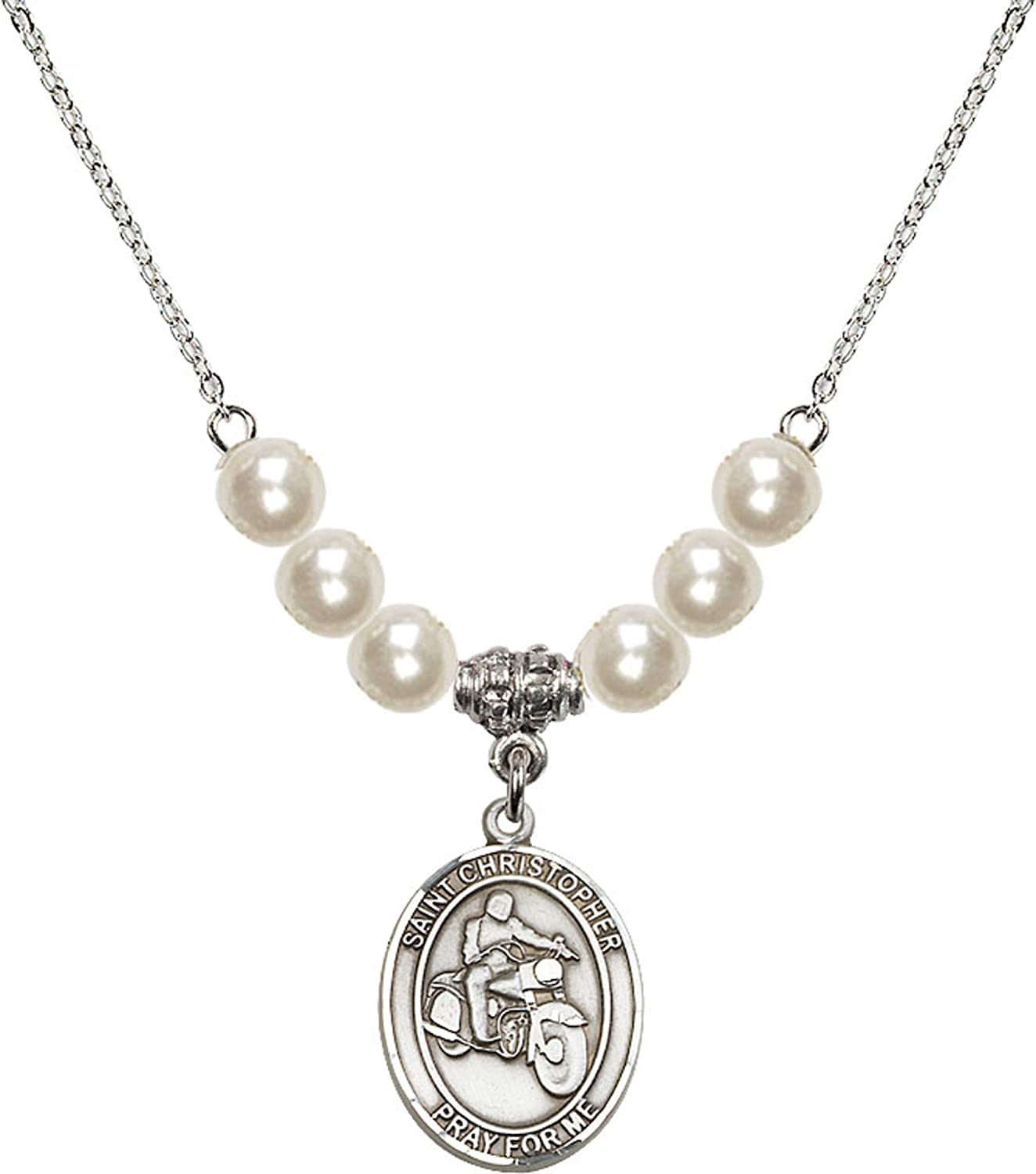 Bonyak Jewelry 18 Inch Rhodium Plated Necklace w// 6mm Faux-Pearl Beads and Saint Christopher//Motorcycle Charm