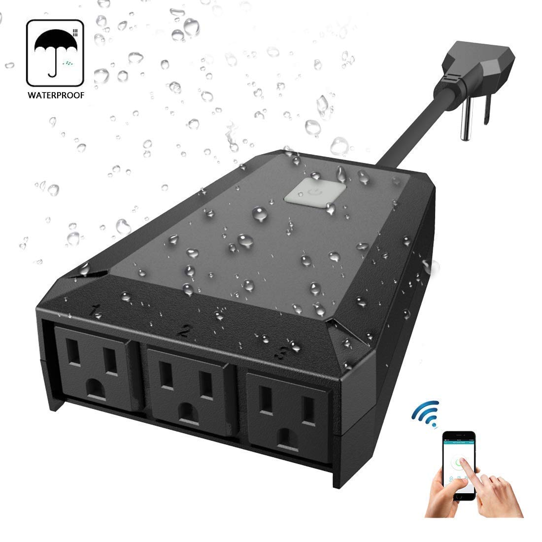 Outdoor Outlet,Waterproof WiFi Smart Socket with 3 AC Outputs Outlet,Smart Home Socket Timing Function Works with Amazon Alexa,Google Home & IFTTT,ETL FCC ROSH Listed (Outdoor Smart Outlet, Black) Shuofeng