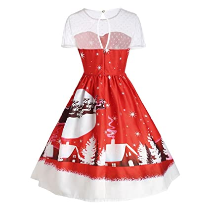 f7cf07d368d2 Amazon.com: Christmas Fancy Costume, Kimloog Women's Vintage O-Neck Elk  Snowing Xmas Background Printed Short Sleeve A-Line Swing Dress (L, ...