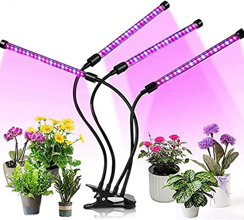 LED Grow Light for Indoor Plants 18W, HOHOTIME Plant Growing Lamp with 3 9 12 Hours Timer, 10 Levels of Adjustable Brightness, LED Light Bulbs, Clip-On Desk Clamp, Full Spectrum
