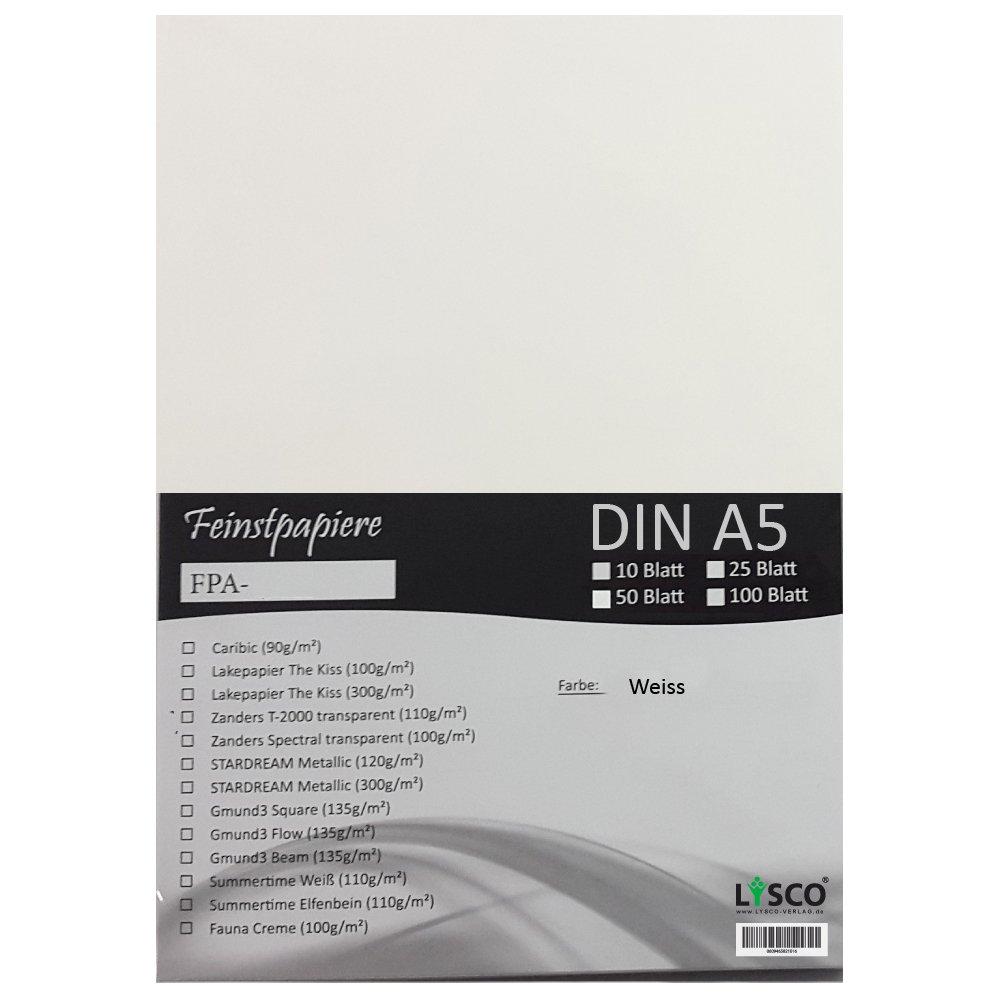 GMUND Transparentpapier DIN A5 Farbe Weiß transparent / LYSCO® Feinstpapierset mit 50 Blatt Inhalt (FPA-126) - bedruckbar, sehr gute Qualität, für Einladungen, als Einlegeblätter für Alben, Fotoalben, Fensterbilder, Bastelarbe