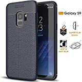 Samsung Galaxy S9 Shockproof Case Protector Built in Grip Slim Ultra Thin TPU Silicone Phone Case Cover Neo Hybrid Full Rugged Add No Bulk(Navy) For Sale