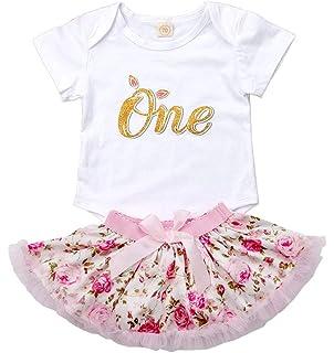 9f300598b8d5 Newborn Baby Girls First Birthday Romper Bodysuits + Tutu Skirt Dress  Outfit Set with Headband