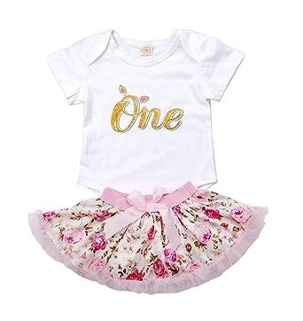 87aac74dab2 Newborn Baby Girls First Birthday Romper Bodysuits + Tutu Skirt Dress  Outfit Set with Headband (