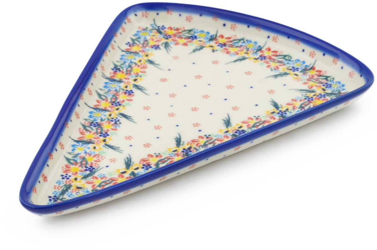 Polish Pottery 11¾-inch Pizza Plate (Wildflower Parade Theme) Signature UNIKAT + Certificate of Authenticity
