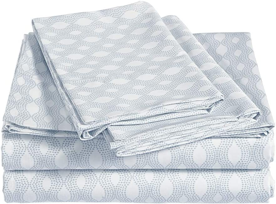 AmazonBasics Super-Soft Sateen 400 Thread Count Cotton Sheet Set - Cal King, Dotted Ogee