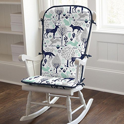 Carousel Designs Navy and Mint Woodlands Rocking Chair Pad by Carousel Designs