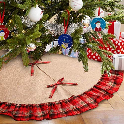 Diagtree Linen Burlap Christmas Tree Skirt Red Black Plaid Ruffle Edge Border Large 48 inches Round Indoor Outdoor Mat Xmas Party Holiday Decorations (Plaid, 48