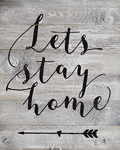 Rustic BARN Wood Pallet Sign – Lets Stay Home Quote with Fun Arrow Heart Graphic Pointing Back – Size 14x 18 Rustic Distressed Signs Handmade with Real Wood That Will Look Perfect on Your Family Wall For Sale