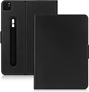 FYY Case for New iPad Pro 12.9 Inch 4th Generation 2020 with Pencil Holder, Luxury Cowhide Genuine Leather Case with [Support Apple Pencil Charging] [Auto Sleep-Wake] for iPad Pro 12.9 2020 Black