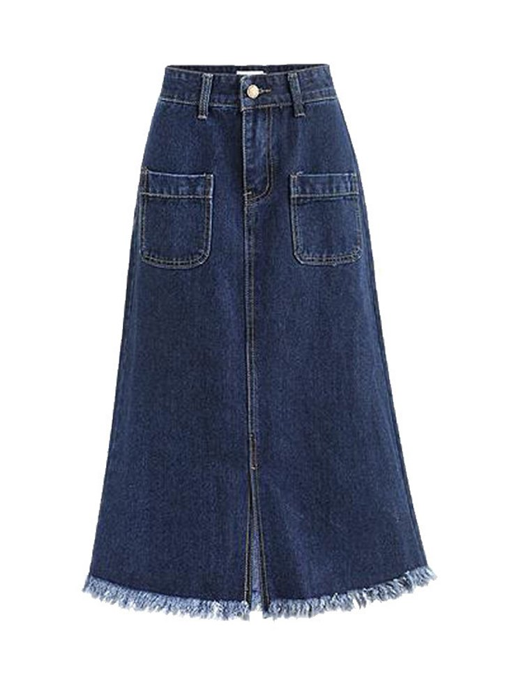 Women's High Waist A Line Denim Skirt Split Fringe Hem Midi Jean Skirt Blue Tag 3XL-US L