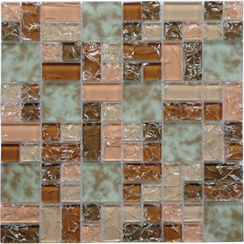 Matte Copper Backsplash (Crackle Roseate (GP08) Pink Copper Puzzle Glass Backsplash Mosaic Tile for Kitchen Bathroom Wall (1 Box / 11 Sheets))