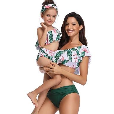 UK Family Matching Swimsuit Mother Daughter Kids Baby Women Girl Bikini Swimwear
