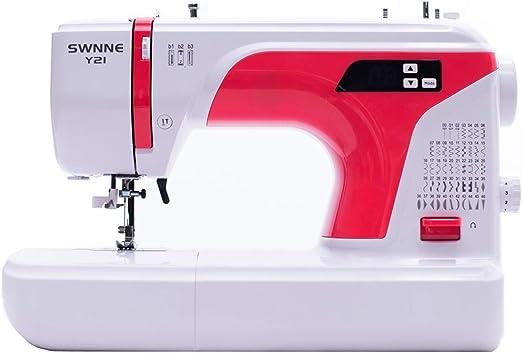 Máquina de coser electrónica con enhebrador de agujas automático y accesorios multifunción ligero portátil SWNNE Y21 Series LED, 50 puntadas integradas: Amazon.es: Hogar