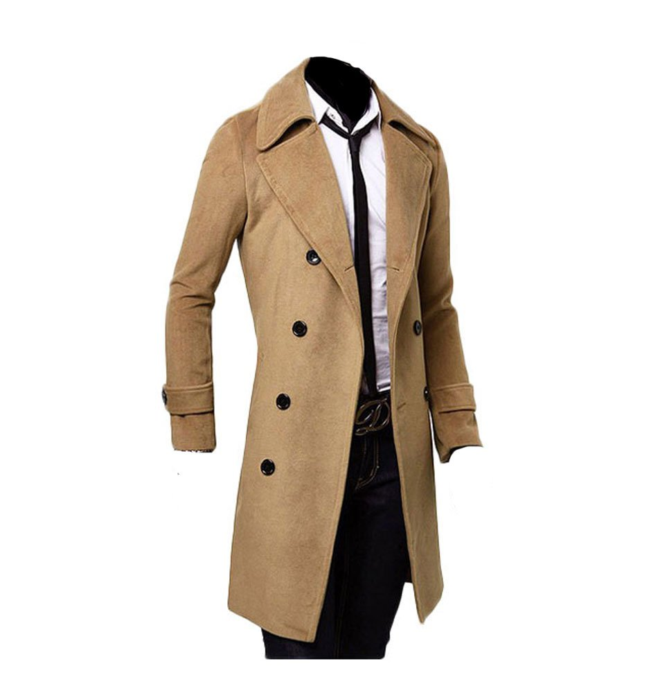 King Ma Winter Warm Men Slim Trench Double Breasted Overcoat Long Jackets (Chinese XL, camel)