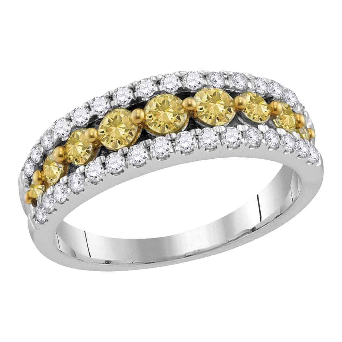 14k White Gold Yellow Diamond Fashion Band Semi Eternity Ring Round Bridal Style Fancy 1/2 ctw Size 8