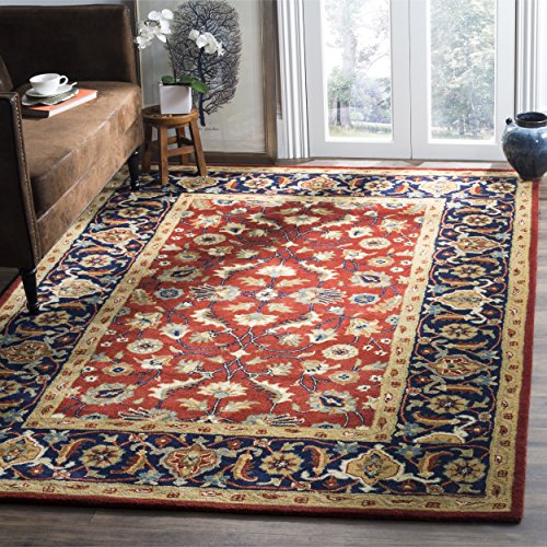 Safavieh Royalty Collection ROY256A Handmade Traditional Rust and Navy Wool Area Rug (8′ x 10′)