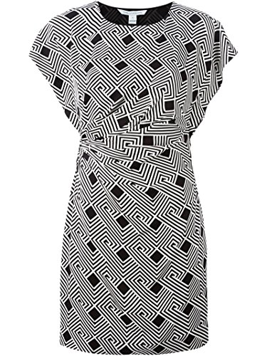 Ruched Silk Sheath Dress (DIANE VON FURSTENBERG Jenna Black White Geometric Print Silk Sheath Mini Dress 0)