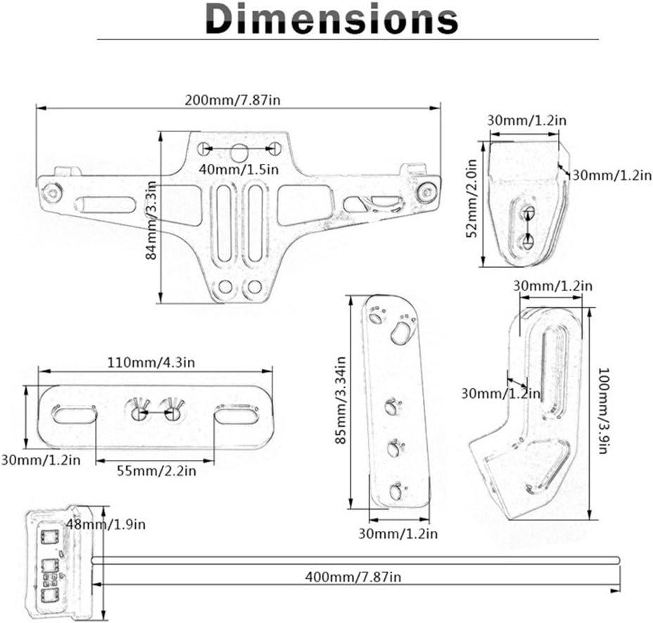 RUILITECH Support de Plaque Dimmatriculation Universel Pour Moto Support de Plaque Dimmatriculation Rouge