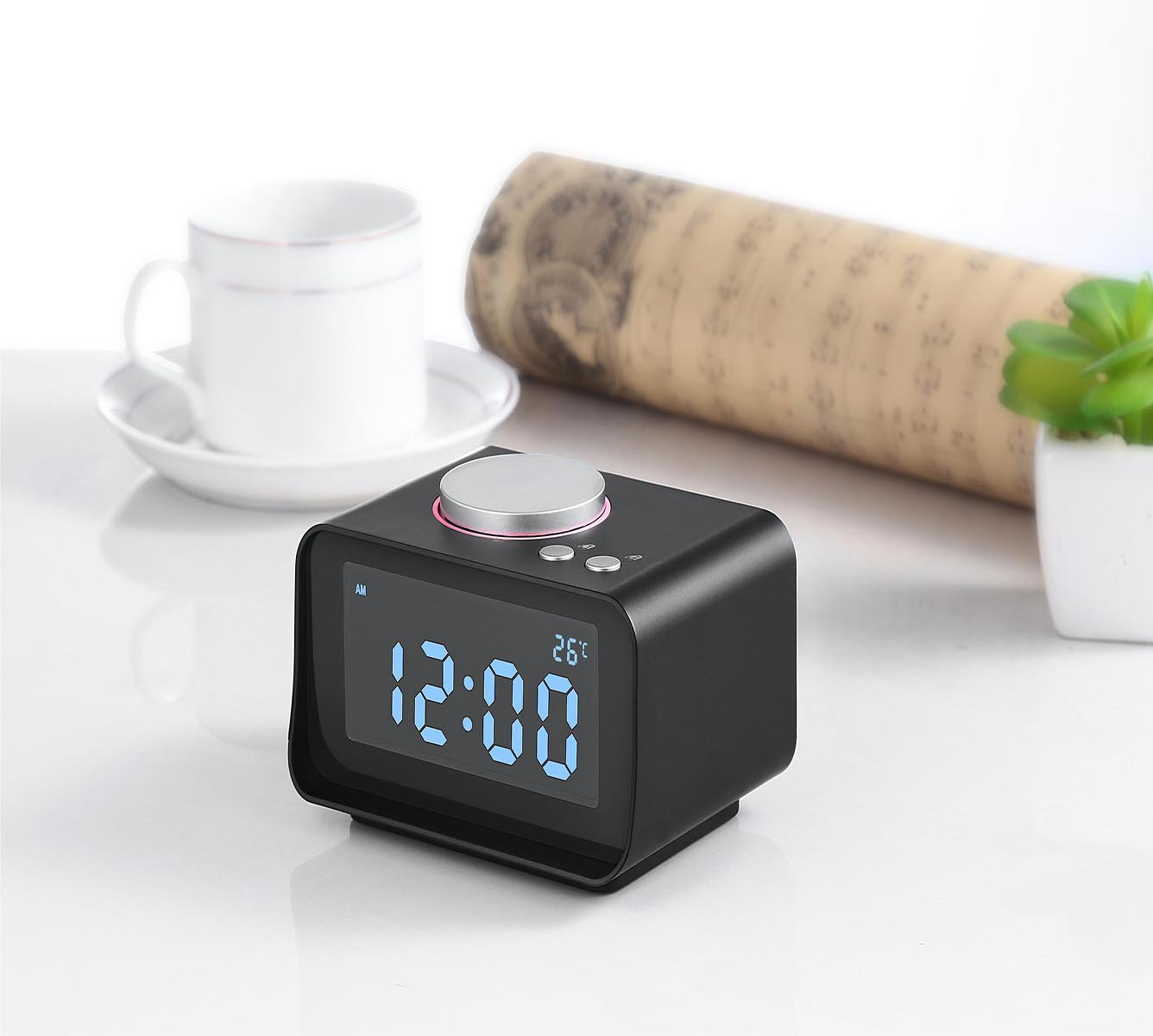 Reloj proyector FM LCD Digital, Pathonor Radio Despertador con ...