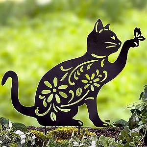 Briskly41 Cat Silhouette Animal Stake Garden Yard Planter Art Lawn Outdoor Home Decor Metal Floral Cutouts