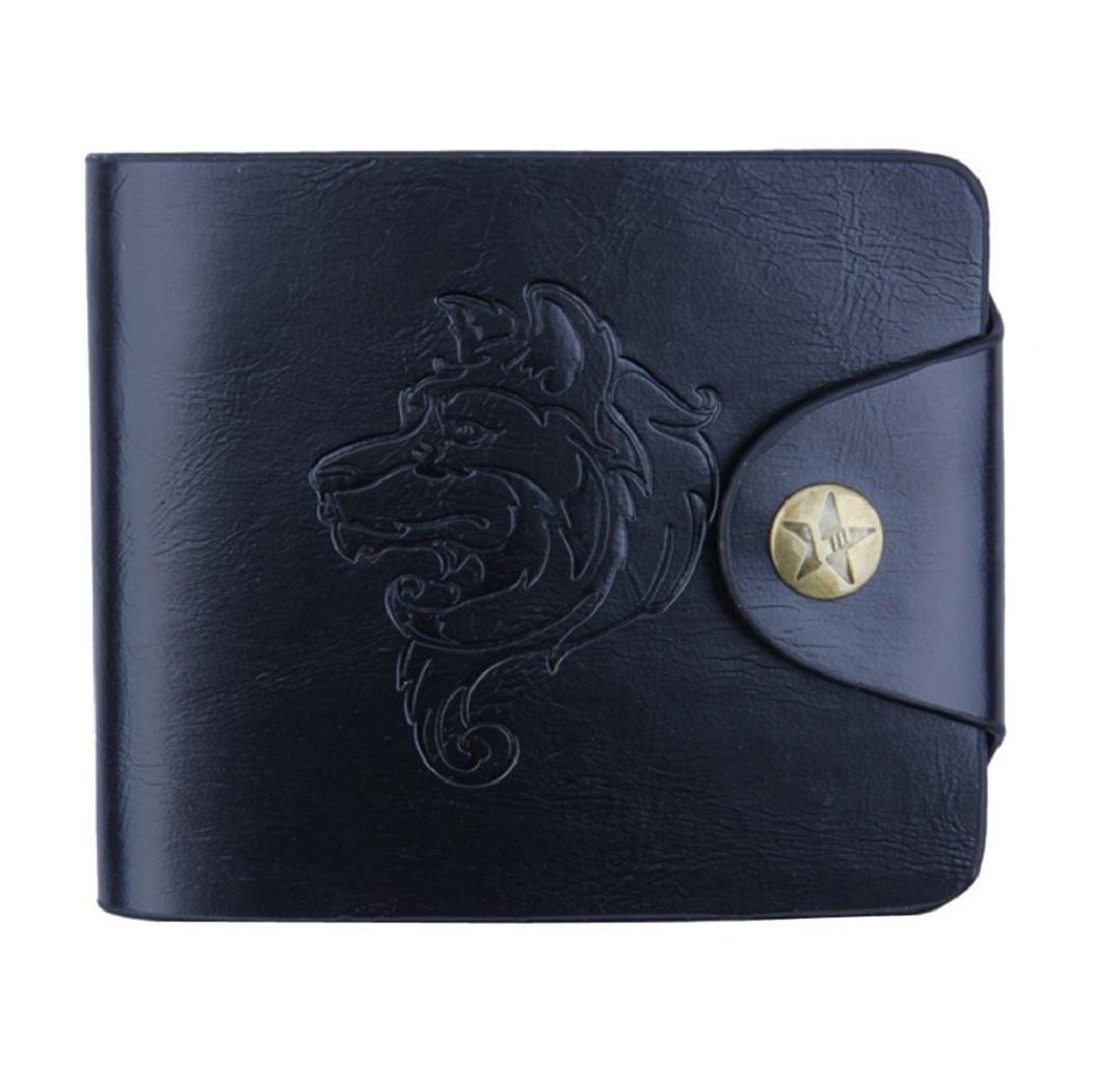DBHAWK Men Bifold Business PU Leather Wallet ID Credit Card Holder Purse Pockets (Black)