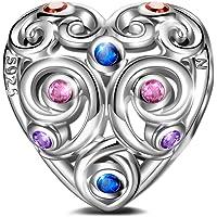 NINAQUEEN Charms et Perle pour Femme Amour Éternel en Argent sterling 925 Cœur avec 5A Zircone, Cadeau Noēl, sans Nickel, Emballage Cadeau Chaque Moment spécial