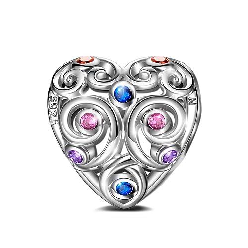 8b1776c35294 NINAQUEEN Abalorios Charms para Día de la madre Mujer Amor Eterno Plata de  ley 925 Corazón con 5A Circonita Multicolor Joyas Regalo ...